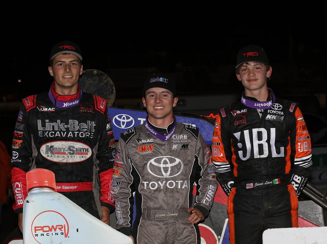 Jesse Love (right) earned a podium finish at Jacksonville Speedway on Friday night. (Brendon Bauman photo)