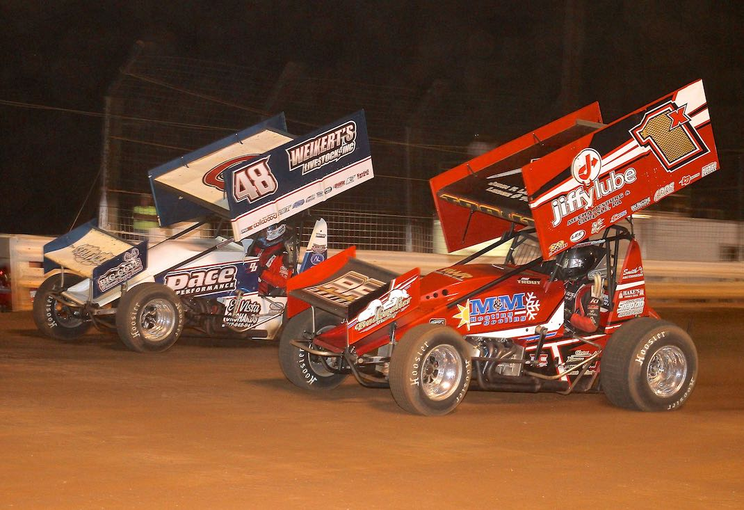 Danny Dietrich (48) races past Chad Trout at Williams Grove Speedway. (Dan Demarco photo)