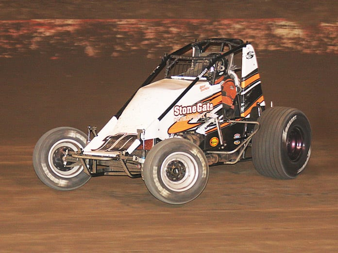 Richard Vander Weerd en route to victory on Saturday night at Perris Auto Speedway. (Doug Allen Photo)