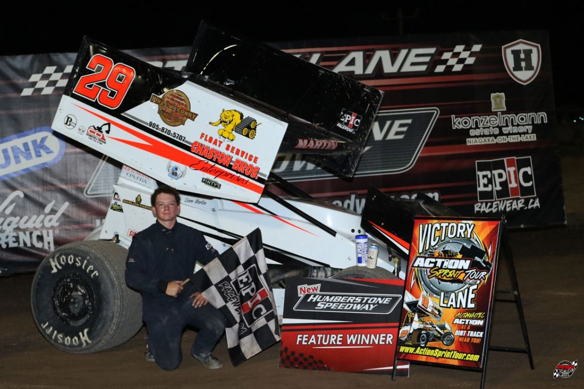 Liam Martin in victory lane Sunday at New Humberstone Speedway.