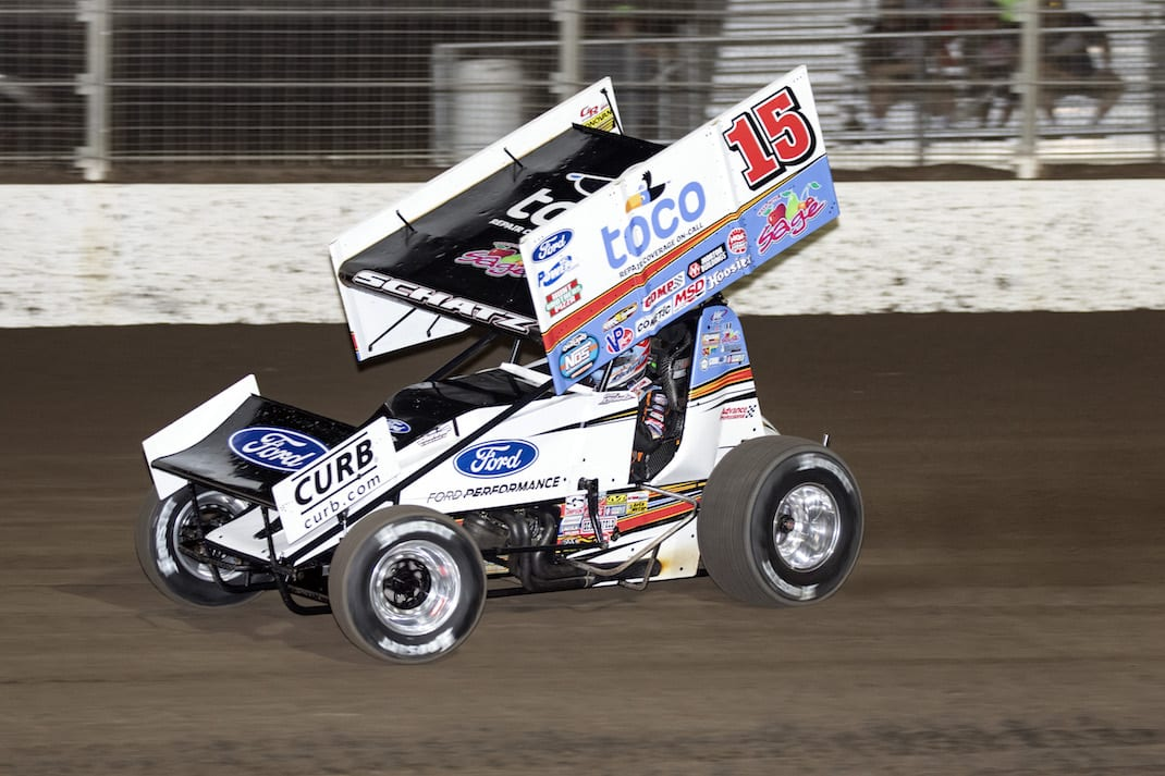 Donny Schatz, shown earlier this year, won Friday's World of Outlaws feature at Dodge City Raceway Park. (Jeff Peck photo)