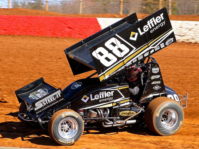 Brandon Rahmer on his way to victory Saturday at Lincoln Speedway. (Dan Demarco Photo)