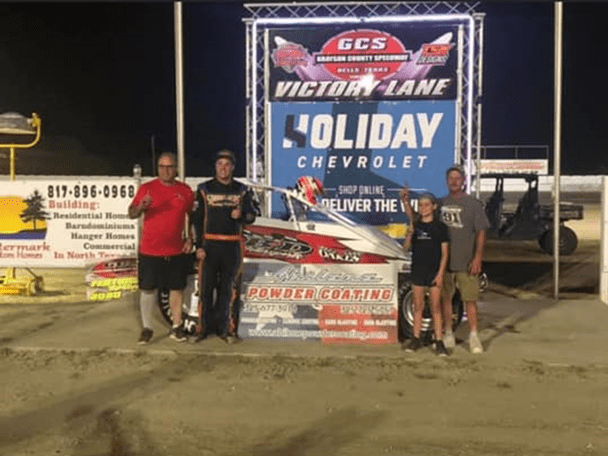Logan Scherb in victory lane following his ASCS Elite Non-Wing Series victory Saturday at Grayson County Speedway.