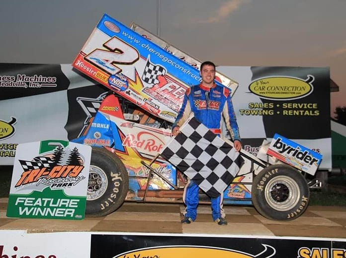 A.J. Flick notched his first victory of the season on Sunday at Tri-City Raceway Park.