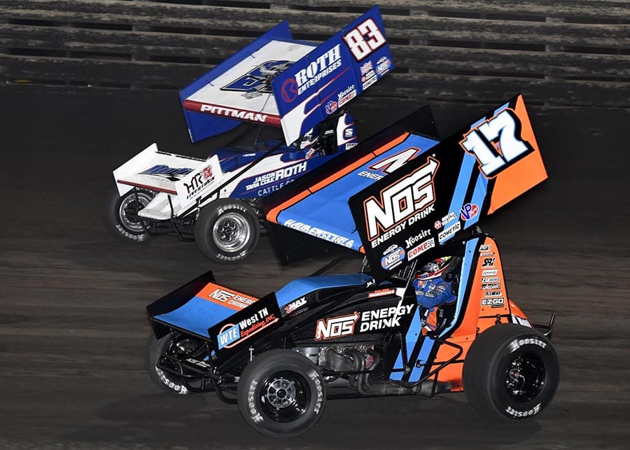Sheldon Haudenschild (17) battles Daryn Pittman during Friday's The One and Only event at Knoxville Raceway. (Frank Smith Photo)