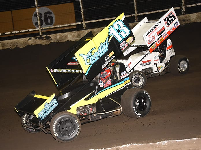 Paul McMahan (13), shown here at Huset's Speedway, has confirmed he and his wife have tested positive for COVID-19. (Paul Arch Photo)