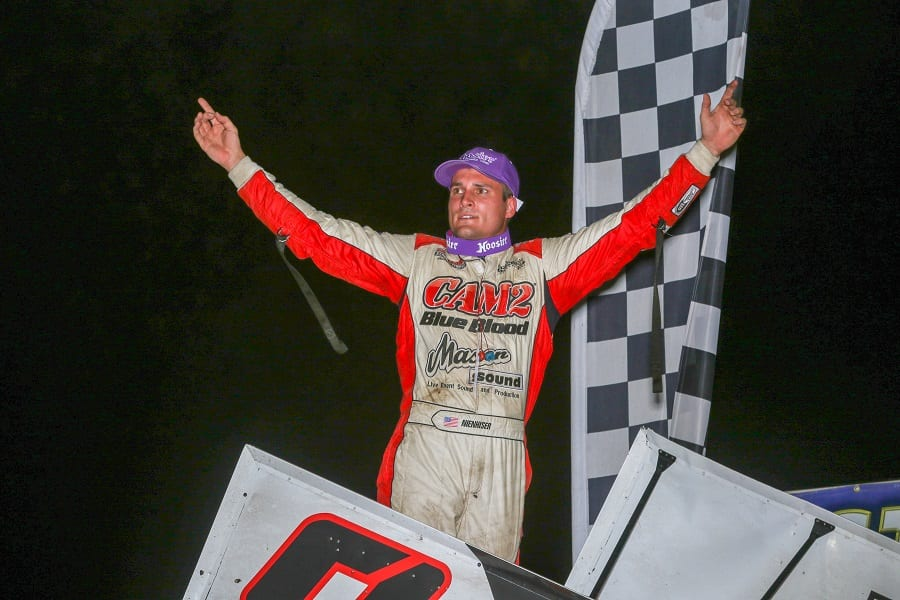 Paul Nienhiser celebrates in victory lane after winning Friday's MOWA Sprint Car Series event at Tri-City Speedway. (Brendon Bauman photo)