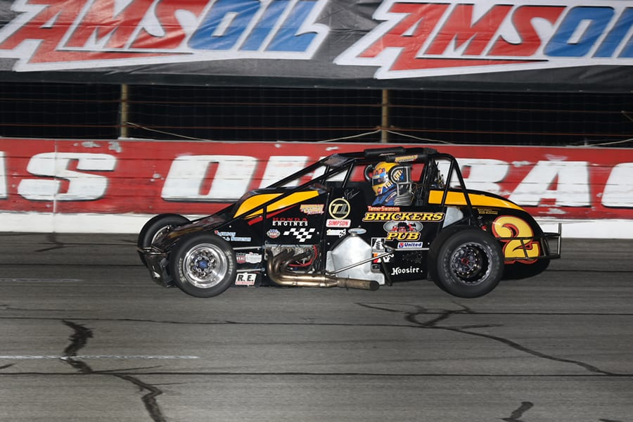 Tanner Swanson on his way to victory during Friday's Carb Night Classic USAC Silver Crown Series event at Lucas Oil Raceway. (Neil Cavanah Photo)