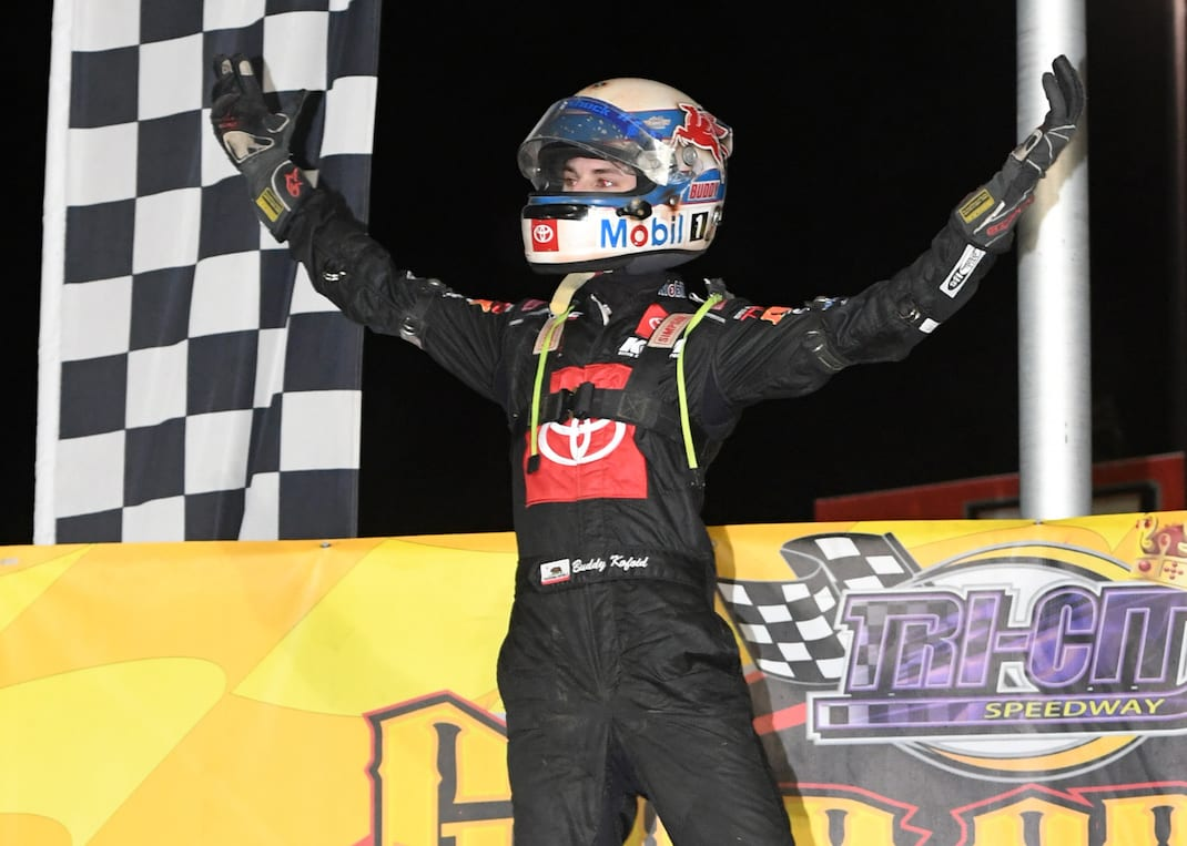 Michael Kofoid in victory lane at Triumph-City Speedway. (Don Figler photo)