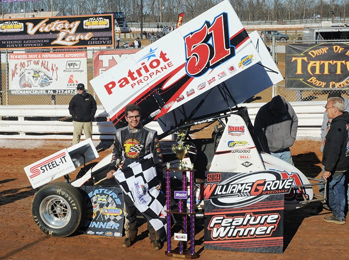 Freddie Rahmer in victory lane Sunday at Williams Grove Speedway. (Julia Johnson Photo)