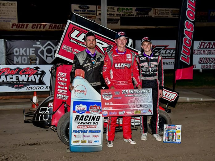 Daison Pursley (center) bested Ryan Timms (right) and Frank Flud (left) to win Sunday's POWRi Engler Machine & Tool Micro Sprint League feature at Port City Raceway. (Danny Crum Photo)