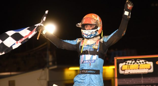 Kyle Larson in victory lane at Williams Grove Speedway. (Paul Arch photo)