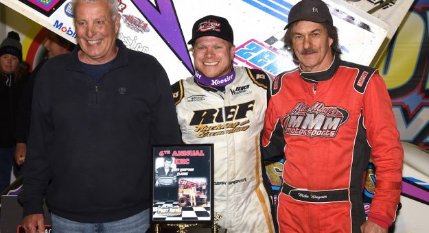 Logan Wagner (center) poses with Keith Kauffman (left) and his dad, Mike Wagner, after winning Saturday's Keith Kauffman Classic. (Paul Arch photo)