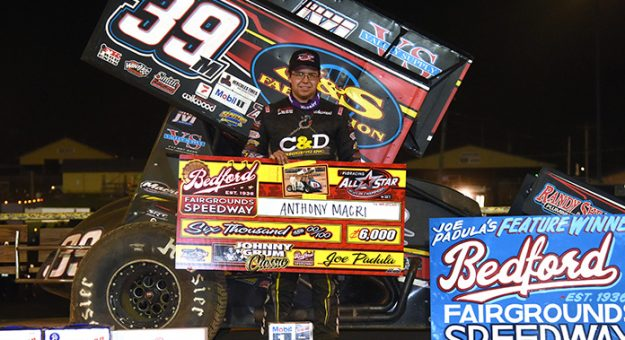 Anthony Macri in victory lane Sunday at Bedford Speedway. (Paul Arch Photo)