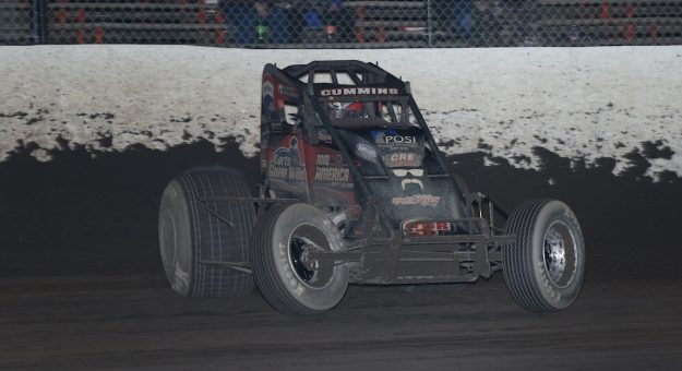 Kyle Cummins en route to victory at Tri-State Speedway. (Neil Cavanah photo)