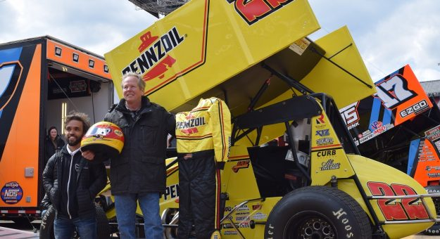 Jac Haudenschild (right) will carry Pennzoil sponsorship and a throwback scheme during his final season of sprint car racing. (Jacob Seelman photo)