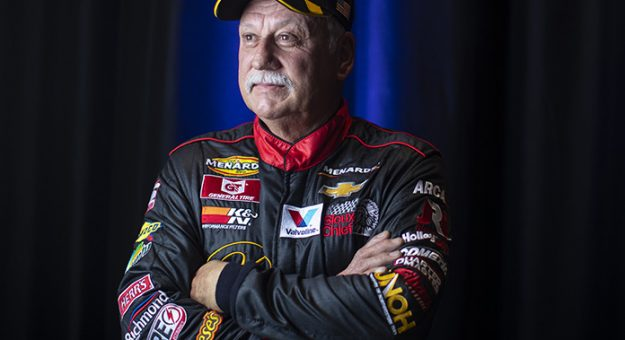 Dave Mader III, driver of the #63 Diamond C Ranch-American Apparel-PRWLLC Chevrolet, poses for a portrait before the Lucas Oil 200 Driven by General Tire for the ARCA Menards Series at Daytona International Speedway in Daytona Beach Florida on February 12, 2021. (Adam Glanzman/NASCAR)