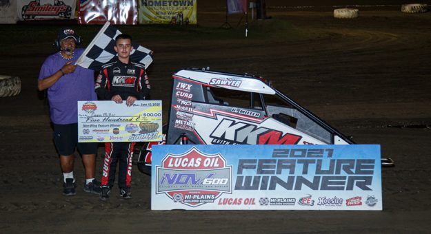 Gavin Miller in victory lane Thursday at Creek County Speedway. (Russell Moore Photo)