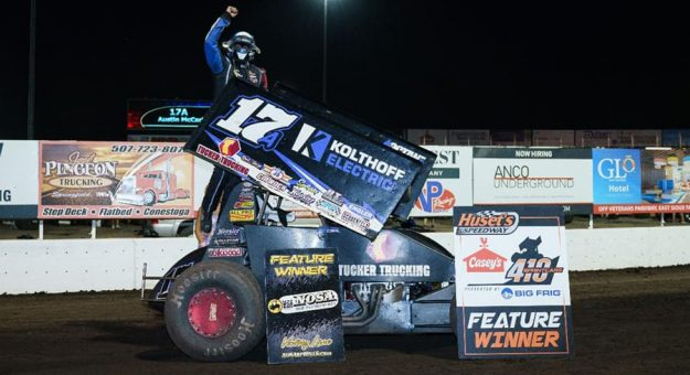 Austin McCarl won for the third time this year at Huset's Speedway on Sunday. (Tylan Porath Photo)