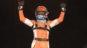Kyle Larson in victory lane Monday at Wayne County Speedway. (Paul Arch Photo)