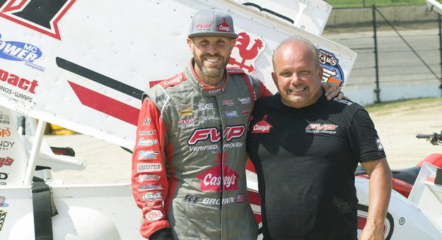 Brian Brown (left) is leaning on his uncle Danny Lasoski (right) to help him get up to speed ahead of the Knoxville Nationals. (Doug Auld Photo)