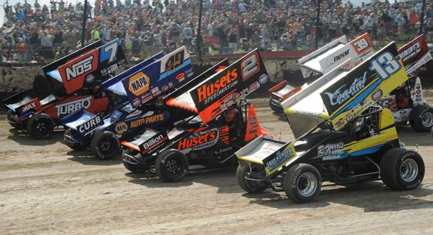 The field prepares to go racing during the 38th Kings Royal Saturday afternoon at Eldora Speedway. (Julia Johnson Photo)