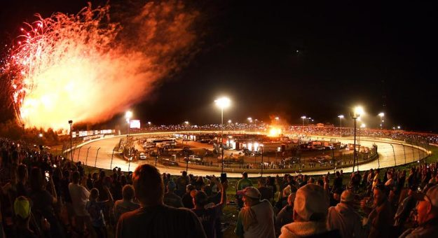 Fireworks go off at Ohio's Eldora Speedway prior to the 37th Annual Kings Royal, one of the crown jewels of the World of Outlaws NOS Energy Drink Sprint Car Series season.