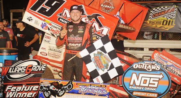 Brent Marks in victory lane Saturday at Williams Grove Speedway. (Julia Johnson Photo)