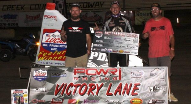 Kyle Jones scored his second Lucas Oil POWRi West Midget League presented by Realty Connect victory of the year Friday at Creek County Speedway. (Richard Bales Photo)