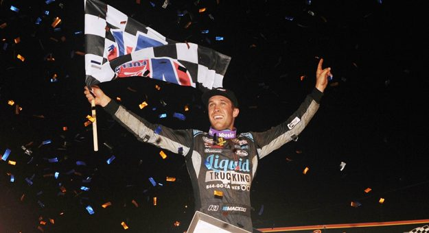 Carson Macedo celebrates his victory in the 59th running of the National Open at Williams Grove Speedway. (Julia Johnson Photo)